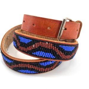 Beaded boho leather belt blue black red brown M/L
